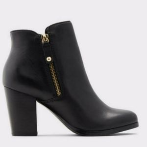 Aldo Black Leather Ankle Boots 6.5